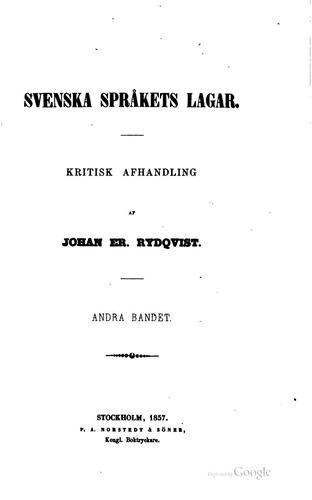 Svenska språkets lagar: kritisk afhandling