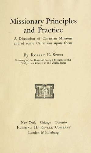 Missionary principles and practice