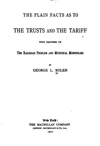 Download The plain facts as to the trusts and the tariff