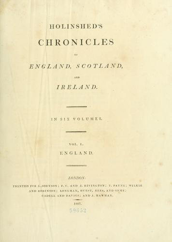 Download Holinshed's Chronicles of England, Scotland, and Ireland …