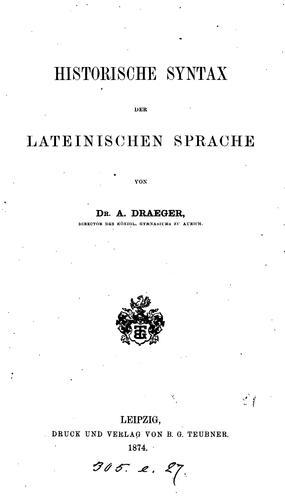 Historische Syntax der lateinischen Sprache