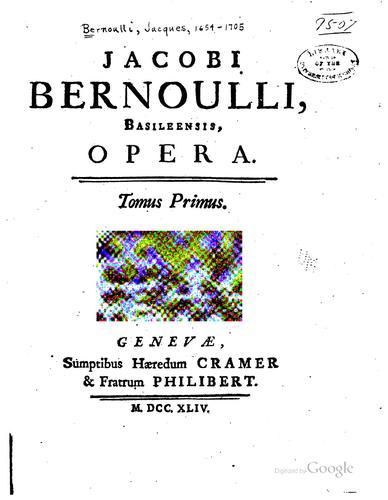 Download Jacobi Bernoulli, Basileensis, opera …