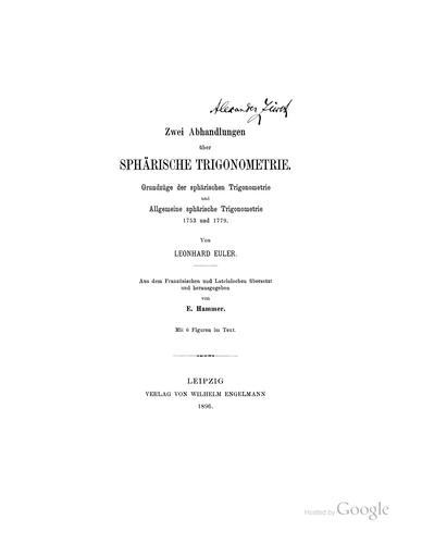 Zwei abhandlungen über sphärische trigonometrie.