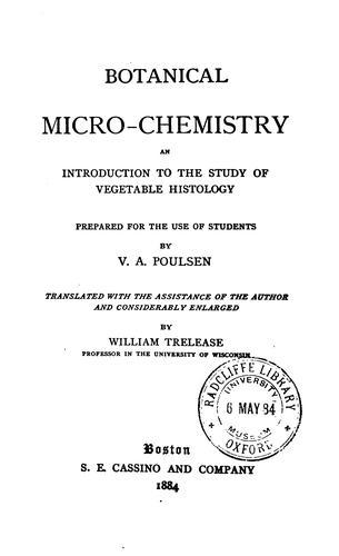 Botanical micro-chemistry