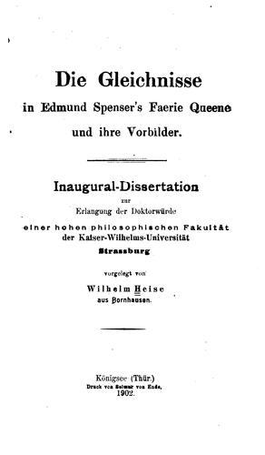 Download Die Gleichnisse in Edmund Spenser's Faerie queene und ihre Vorbilder.