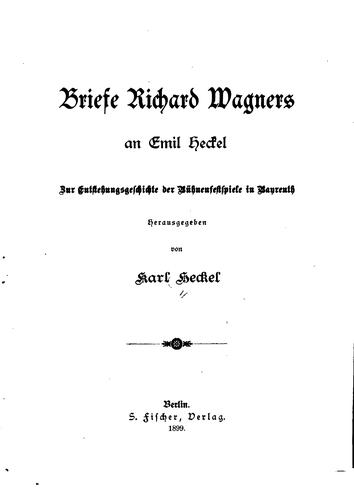 Download Briefe Richard Wagners an Emil Heckel