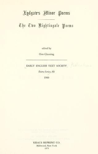 Lydgate's minor poems.