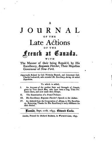 Download Journal of the late actions of the French at Canada
