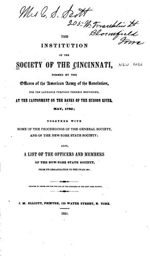 Download The institution of the Society of the Cincinnati