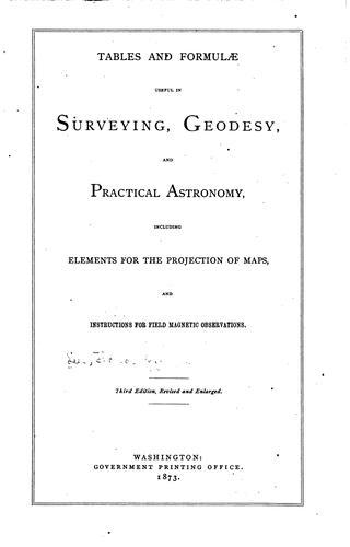 Tables and formulae useful in surveying, geodesy, and practical astronomy