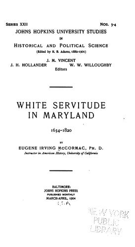 White servitude in Maryland, 1634-1820