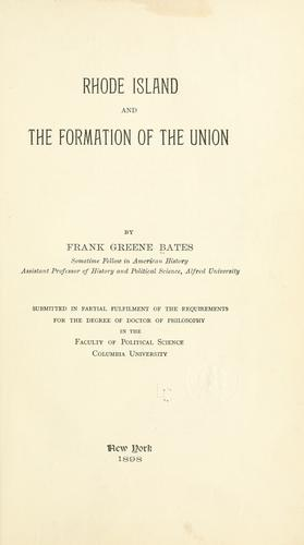 Download Rhode Island and the formation of the Union.