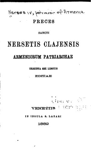 Download Preces Sancti Nersetis Clajensis Armeniorum Patriarchae