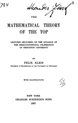 Download The mathematical theory of the top.