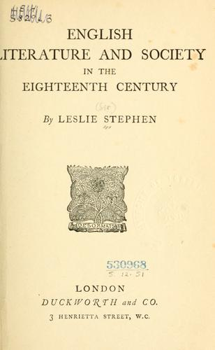 Download English literature and society in the eighteenth century .