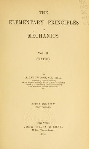 The elementary principles of mechanics