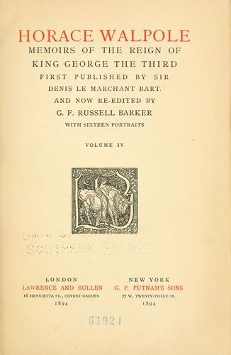 Memoirs of the reign of King George the Third.