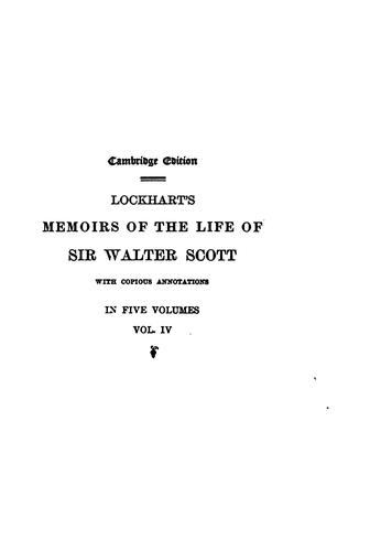 Memoirs of the life of Sir Walter Scott