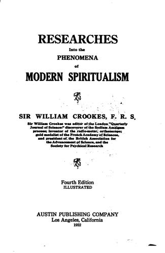 Download Researches into the phenomena of modern spiritualism