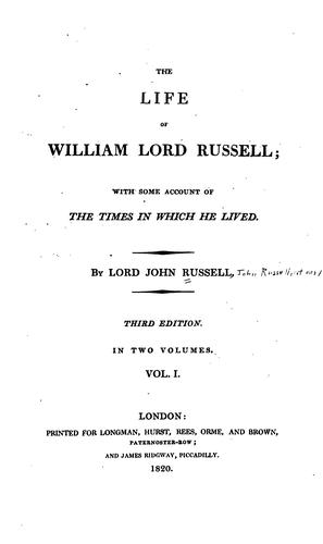 Download The life of William, lord Russell