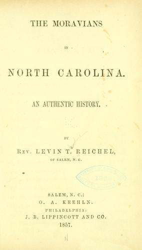 The  Moravians in North Carolina