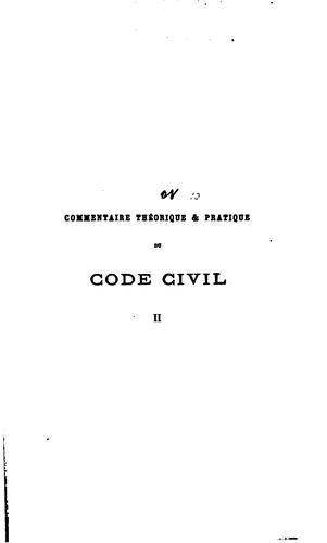 Download Commentaire théorique & pratique du Code civil