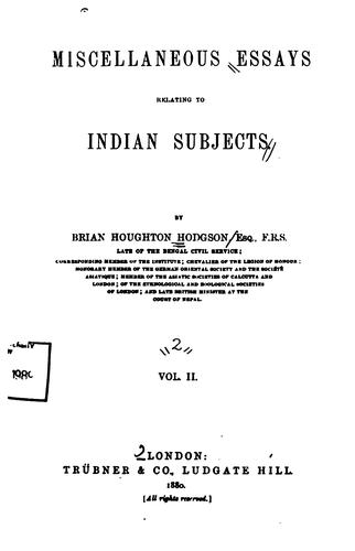 Download Miscellaneous essays relating to Indian subjects.