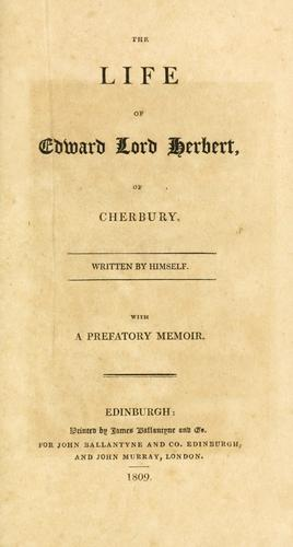 Download The life of Edward Lord Herbert, of Cherbury.
