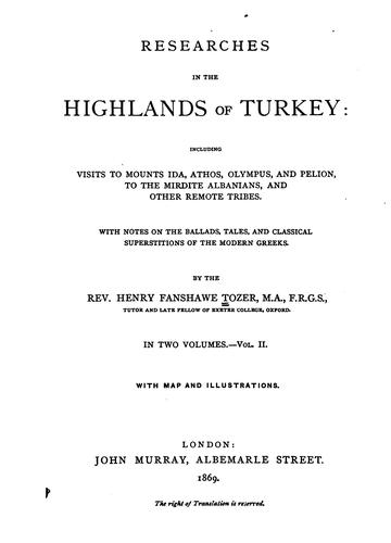 Download Researches in the highlands of Turkey
