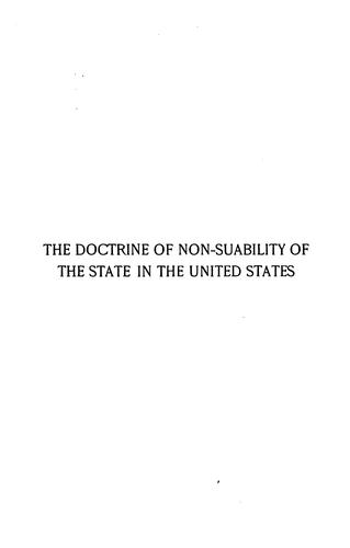 Download The doctrine of non-suability of the state in the United States