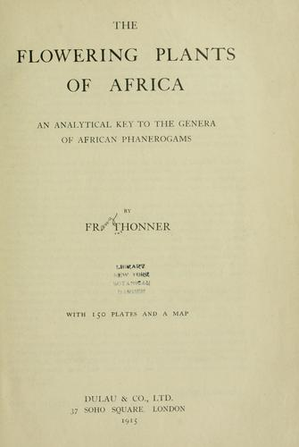 Download The flowering plants of Africa