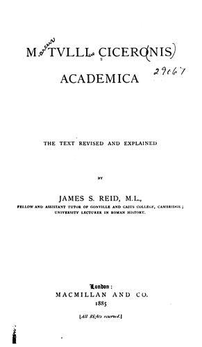 M. Tulli Ciceronis Academica