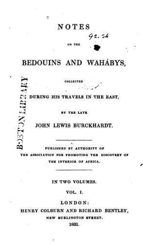 Notes on the Bedouins and Waha bys