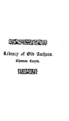 The poems and masque of Thomas Carew…