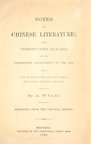 Download Notes on Chinese literature
