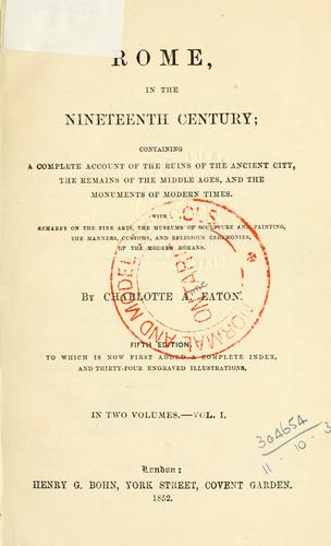 Download Rome, in the nineteenth century