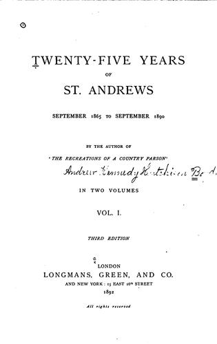 Download Twenty-five years of St. Andrews, September 1865 to September 1890