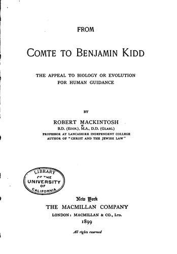 From Comte to Benjamin Kidd