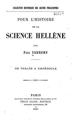 Pour l'histoire de la science hellène