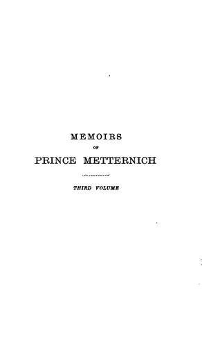 Memoirs of Prince Metternich 1773-1835