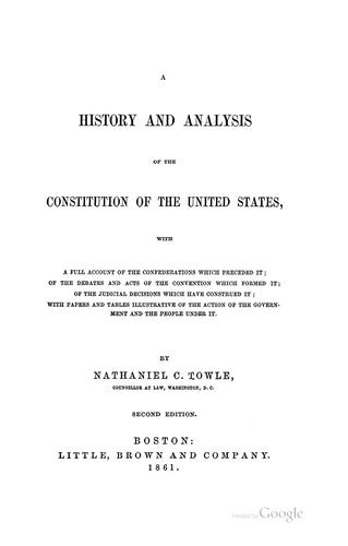 Download A history and analysis of the Constitution of the United States