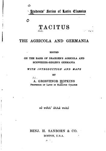 Download The Agricola and Germania