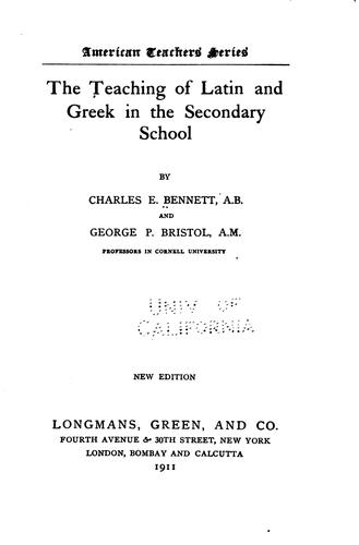 Download The teaching of Latin and Greek in the secondary school