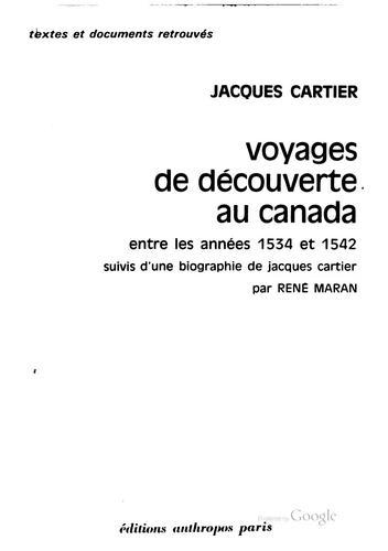 Voyages de découverte au Canada entre les années 1534 et 1542