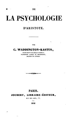 De la psychologie d'Aristote.