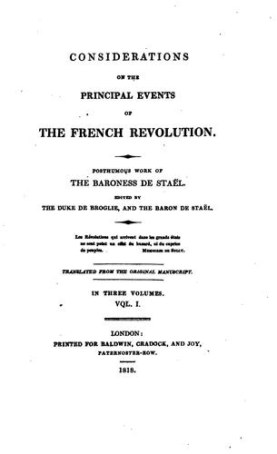 Download Considerations on the principal events of the French revolution