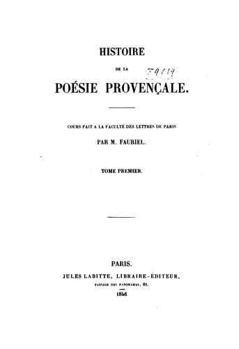 Download Histoire de la poésie provençale