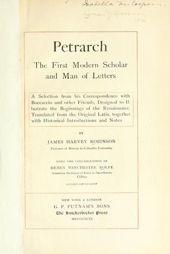 Download Petrarch, the first modern scholar and man of letters
