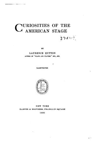 Curiosities of the American stage