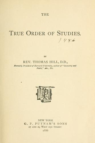 The true order of studies.